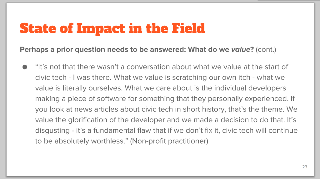 The State of Impact in Civic Tech